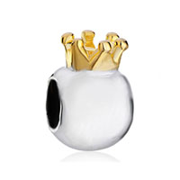 Silver Plated Little Cute Crown European Bead Charms Bracelets