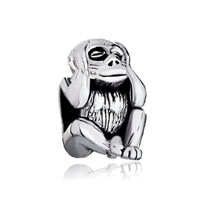 Silver Plated Hear No Evil Monkey European Bead Charms Bracelets
