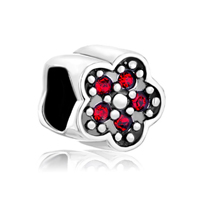Birthstone Charms Cute Red Crystal Plum Flower 925 Sterling Silver Gift Jewelry Beads Fit Charm Bracelet