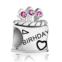 Pink October Crystal Cz Birthday Cake Sterling Silver Beads Charms Bracelets Fit All Brands