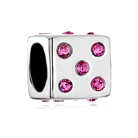 Pink Crystal Cz Sieve Sterling Silver Fit Beads Charms Bracelets All Brands