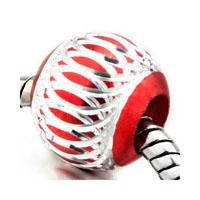 Silver Red Pattern Lantern Aluminum European Bead Charms Bracelets