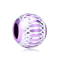 Silver Plated Amethyst Purple Enamel White Stripes Aluminum Beads