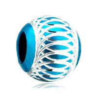 Pale Blue Pattern Lantern Aluminum European Bead Charms Bracelets