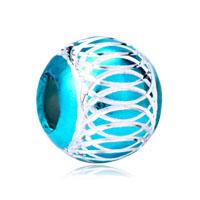 Blue Topaz Enamel White Stripes Aluminum Bead Designer Charm Bracelet