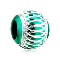 Silver Green Pattern Lantern Aluminum European Bead Charm Bracelets