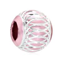 Light Pink White Stripes Aluminum Bead Charm Bracelet Charm Bracelet