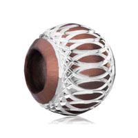 Silver Brown Aluminum European Bead Charms Infant Charms Bracelets