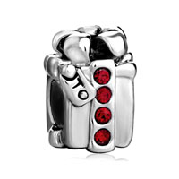 Silver Plated Red Crystal S Box European Bead Charms Bracelets