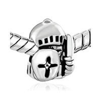 Silver Plated Jewelry Knight Shield Beads Charms Bracelets Fit All Brands