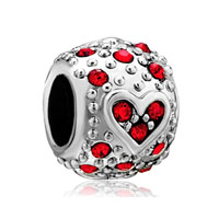 Bling Garnet Red Swarovski Crystal Heart Charm Bracelet Charm Bracelet