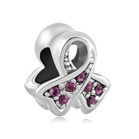 Breast Cancer Charm Awareness Bead Ribbon Feb Births Purple Crystal