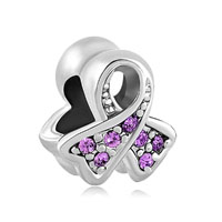 Breast Cancer Charm Awareness Ribbon June Birthstone Purple Crystal