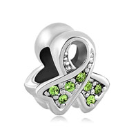 Breast Cancer Awareness Ribbon August Birthstone Peridot Green Crystal