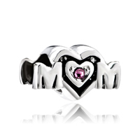 Mom Charms Heart Swarovski Elements