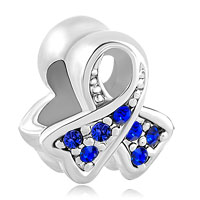 New Breast Cancer Awareness Sterling Silver Sapphire Ribbon Bead Charms