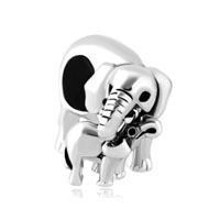 Silver Elephant Mom Love Baby Child American Girl Charm Boy Bead