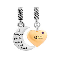 Plate Heart Moon Mom February Birthstone I Love You To The And Back Dangle European Beads Fit All Brands
