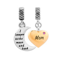 Gold Plate Heart Moon Mom October Birthstone I Love You To The And Back Murano Glass Loose Beads Fit All Brands
