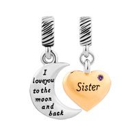Plate Heart Moon Sister February Birthstone I Love You To The And Back Dangle European Beads Fit All Brands