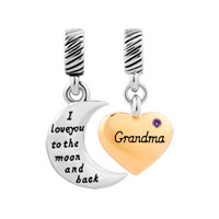 Plate Heart Moon Grandma February Birthstone I Love You To The And Back Dangle European Beads Fit All Brands