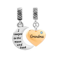 Plate Heart Moon Grandma March Birthstone I Love You To The And Back Dangle European Beads Fit All Brands