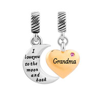 Gold Plate Heart Moon Grandma October Birthstone I Love You To The And Back Murano Glass Loose Beads Fit All Brands