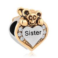 Lovely Bear Heart I Love You Sister White Birthstones Charms Bead Bracelet