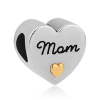 Golden Heart Plate I Love You Mom Alloy Charms Bead Bracelet