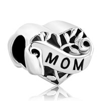Silver Heart I Love You Mom Alloy Charms Bead Bracelet