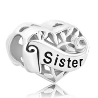 925 Sterling Silver Family Tree Of Life Hollow Heart Love Sister Fit Beads Charms Bracelets All Brands