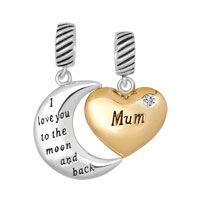 925 Sterling Silver April Birthstone Gold Plate Heart Moon Mum Beads And Charms I Love You To The Moon And Back
