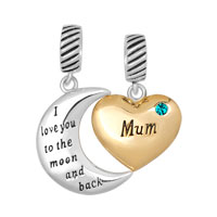 925 Sterling Silver December Birthstone Gold Plate Heart Moon Mum Beads And Charms I Love You To The Moon And Back