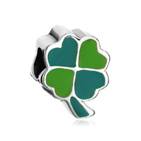 Silver Fourleaf Clover Green Yellow European Bead Charms Bracelets