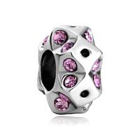 Round Metal Square Violet Rhinestone Crystal Beads Charms Bracelets
