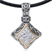 925 Sterling Silver Crystal Square Pendant Sterling Silver Pendant