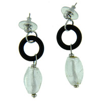 Sterling Silver White Beads Foil Murano Glass Dangle Earrings