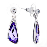 February Birthstone Purple Swarovski Crystal Angel Drop Dangle Earrings