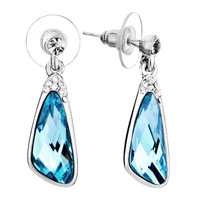 March Birthstone Aquamarine Swarovski Crystal Drop Dangle Pave Teardrop Earrings