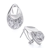 April Birthstone Clear Swarovski Crystal Purse Stud Earrings