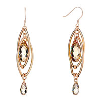 Double Golden Oval Dangle November Birthstone Swarovski Topaz Crystal Pave Teardrop Earrings