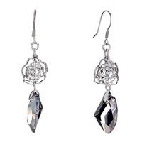 Double Hollow Flower Gray Swarovski Crystal Utopian Drop Dangle Earrings