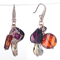 Colorful Crystal Cluster Purple Round Dangle Red Topaz Swarovski Earrings