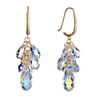 Color Light Swarovski Crystal Cluster Pave Teardrop Dangle Earrings