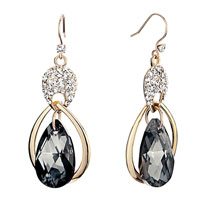 Inverted Drop Detailed Crystal Dangle Montana Earrings Gift
