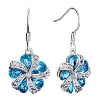 Flower Crystal Aurore Boreale Crystal March Birthstone Aquamarine Swarovski Gift Dangle Earrings