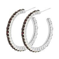 Simple 925 Sterling Silver Dark Red Hoop Jewelry Pink Earrings