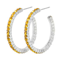 Topaz November Birthstone Crystal Cz Studded Hoop Earrings