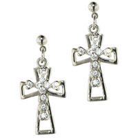 Sterling Silver Crystal Cz Paved Celtic Cross Dangle Earrings