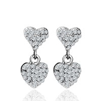 Double Heart Dangle With Clear Crystal Cz Earrings For Women